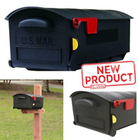 Large Post-Mount Mailbox Plastic Patriot W/ Flag Home Weather Resist Black NEW