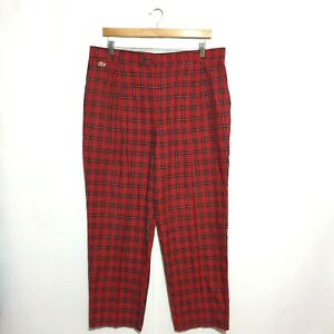 Chemise Lacoste Pants Sz 97 Red Black Checked Pattern 100% Cotton Made In Aus