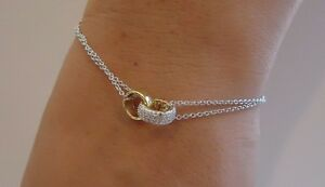 18K TWO TONE YELLOW/ WHITE GOLD OVER 925 STERLING SILVER BRACELET W ACCENTS/8''