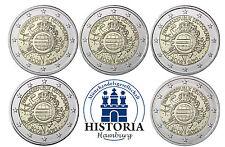 Euro Bargeld 5 x 2 Euro Deutschland 2012 bfr. Gemeinschaftsausgabe: Mzz. A - J