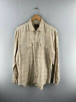 Profile Mens Brown Check Vintage Long Sleeve Snap Button Up Shirt Size Large