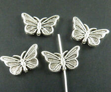 100pcs Tibetan Silver 2Sides Butterfly Spacers Jewelry DIY 17x10x3mm zn14230