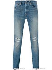 $80 Mens LEVIS 501 SKINNY Jeans 31 x 32 BLUE Vintage BLUE Fly-Button torn