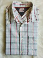 Tommy Hilfiger Men's Striped Button Down Short Sleeve Plaid Shirt Size Large