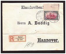DNG Einschreiben mit 5 Mark Minr. 19 ° Rabaul  28.7.10 nach Hannover