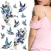 Ladies Blue Butterfly Temporary Tattoos Waterproof Anti-perspiration HM256