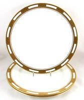 DINNER PLATE(S) AYNSLEY CHINA EMPRESS WHITE 8510 RAISED GOLD ENCRUSTED SMOOTH
