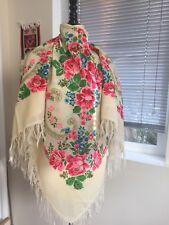 Vintage Never Used Ussr Era Shawl Pure Wool Russian Or Ukrainian
