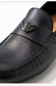 Boxed mens Emporio Giorgio Armani Shoes midnight blue mocassins  Gucci boss 7