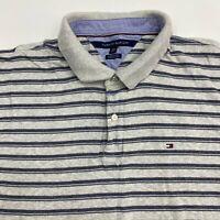Tommy Hilfiger Polo Shirt Men's 2XL XXL Short Sleeve Gray Navy Striped Cotton