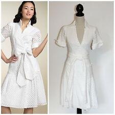 DVF Diane Von Furstenberg Bellette White Cotton Eyelet Lace Wrap Dress 4