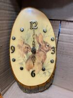 Wood Tree Slab Wall Clock, Rabbits,Bunny`s, Hand Crafted, Battery Operated (A025