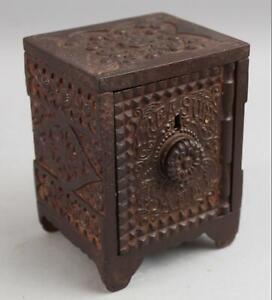 Antique 1897 Nickel Plated Cast Iron J&E Stevens Treasure Safe Original Key, NR