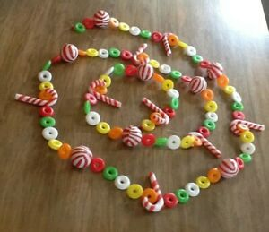 Vintage Plastic Blow Mold Candy Christmas Garland 7.5' Life Savers Candy Canes