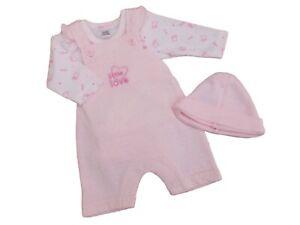 BNWT Baby girl premature preemie tiny prem 3 piece dungaree clothes 3-5lb 5-8lb
