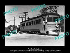 OLD POSTCARD SIZE PHOTO OF NORTH LIBERTY IOWA THE CCR&IC RAILROAD CAR c1950