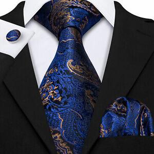 Classic Silk Men's Necktie Navy Gold Floral Tie Set Pocket Square Cufflinks UK