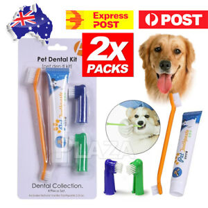2X Pet Dog Cat Cleaning Toothpaste+Toothbrush+ Back Up Brush Set Vanilla Flavour