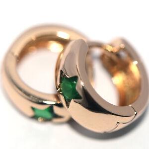 Small Earrings little girls jewelry star earrings Green stone gold filled safe