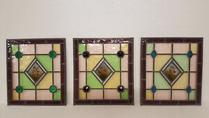 3 x Stained Glass Windows With Hand-Painted Flower Centers & Raised Jewels.