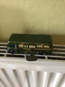 Vintage Greenline Tin Plate Wind-Up Green Bus With Key-Working