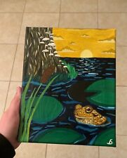 Original hand-painted Frog Landscape painting on canvas by Star Dragon