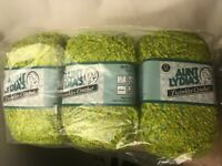 Lot 3 Skeins Aunt Lydia's Twinkles Crochet Yarn Lime Green