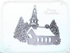 Metal Die, Christmas Church Scene,Cutting Die,Snow,Trees,Crafts,Card Making,Xmas