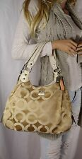 Coach Madison Maggie Op Art Satin Shoulder Hand Bag Champagne