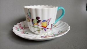 SPODE COPELAND'S CHINA ART DECO FLUTED CUP & SAUCER 3833 WITH EXOTIC BIRDS