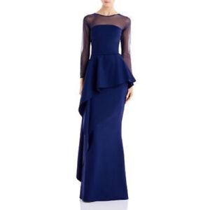 NWT La Petite Robe Chiara Boni Lashana Illusion Peplum Gown 8/44 Italy Navy $995