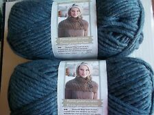 Bernat Roving bulky wool blend yarn, Cobalt, lot of 2 (120 yds each)