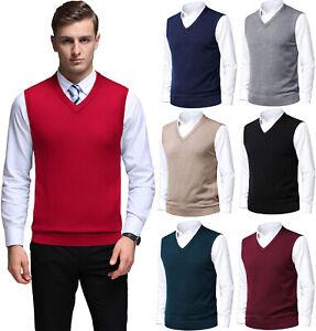 Mens Plain Knitted Tank Top V-Neck Sweater Vest Slim Fit Golf Sleeveless Jumper