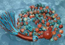 6 mm Multicolored Fall Mala beads, Rare Fossil beads & Red Jasper Mantra Beads