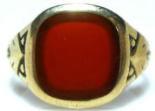 ANTIQUE VICTORIAN NOUVEAU 333 8K GOLD CARNELIAN SHIELD CREST RING SIZE 9 UNISEX