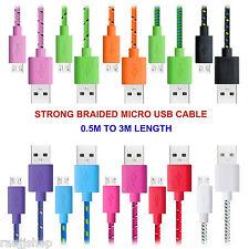 Fuerte Trenzado Cable Micro USB Cable de datos para HTC One M8 M9 Mini U jugar deseo