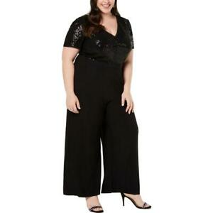 R & M Richards Womens Black Sequined Wide Leg V-Neck Jumpsuit Plus 14W  7983