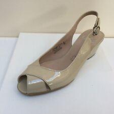Caprice beige patent wedged heel slingbacks, UK 7.5/EU 40.5, RRP £49.99, BNWOB