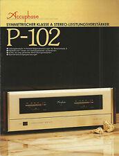 Accuphase P-102 Katalog Prospekt Catalogue Datasheet Brochure
