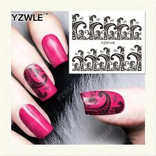 Nail Art Water Decals Stickers Transfers Stamping Black Lace Flowers (YZW148)
