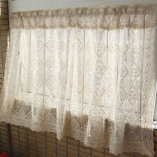 French Country Linen Cotton Lace Crochet Home Kitchen Sheer Cafe Curtain Favor