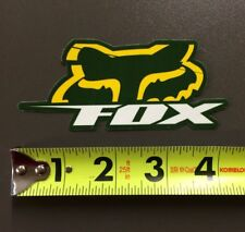 "Fox Racing Fox Head Blitz Sticker Decal Green Yellow 4"" MX ATV MTB BMX OFF ROAD"