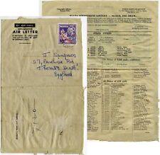 MALTA GOVERNMENT LOTTERY 1955 PRINTED AIRLETTER to THORNTON HEATH GB
