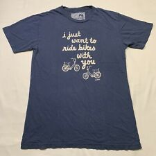 "Toddland ""I Just Want To Ride Bikes With You"" crewneck t-shirt in blue Size: M"