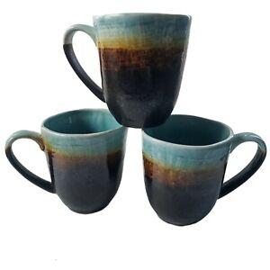"Pier 1 Cassidy Mug 4"" Tall Stoneware Brown Blue Tea Coffee Cup Set of 3"