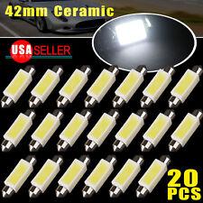 20 X 42 MM Festoon Ceramic 3W COB LED Map/Dome Interior Light Bulbs 6000K White