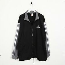 Vintage 90s ADIDAS Small Logo Track Top Jacket Black Grey | Large L