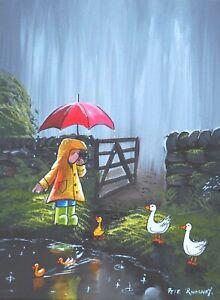 Pete Rumney Original Canvas Art Ducky Duckling Fun Last One In Pond Rainy Day NR
