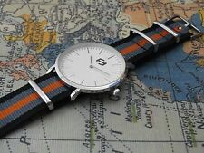 Ultra Slim dress Watch Canvas nylon leather 20mm fabric NATO Strap Vintage Mens