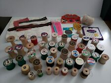 Lot of Vintage Sewing Thread Wooden Spools Zippers Seam Ripper Needles Supplies